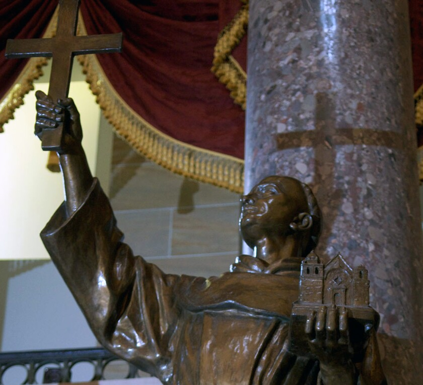 Statue of Father Junipero Serra in Statuary Hall at the U.S. Capitol. A resolution in the California Legislature to replace it with a statute of astronaut Sally Ride was put on hold Thursday.
