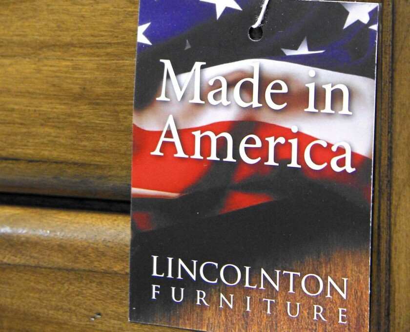 "All states except California follow a standard laid down by the FTC, which defines products as being made in America if ""all or virtually all"" the parts were produced in the U.S. Above, a chest of drawers made by Lincolnton Furniture, a North Carolina company."