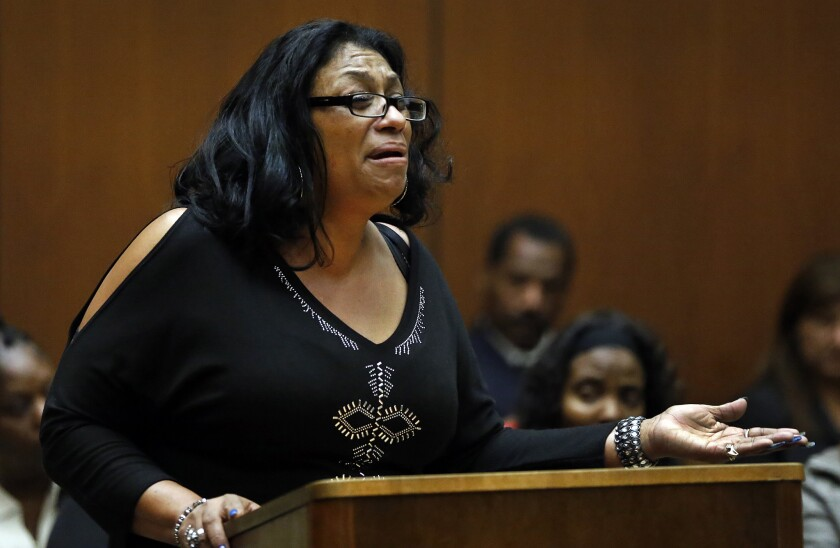 Enietra Washington, the only known survivor of the serial killer known as the Grim Sleeper, addresses Lonnie Franklin Jr., the man accused of attacking her, in February 2015.