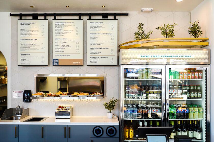 The front counter of Spiro's Mediterranean Cuisine in La Jolla.