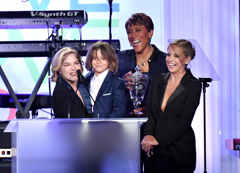 Honoree Selma Blair from left, Arthur Saint Bleick, Robin Roberts and Sarah Michelle Gellar onstage during the 26th Race to Erase MS gala.
