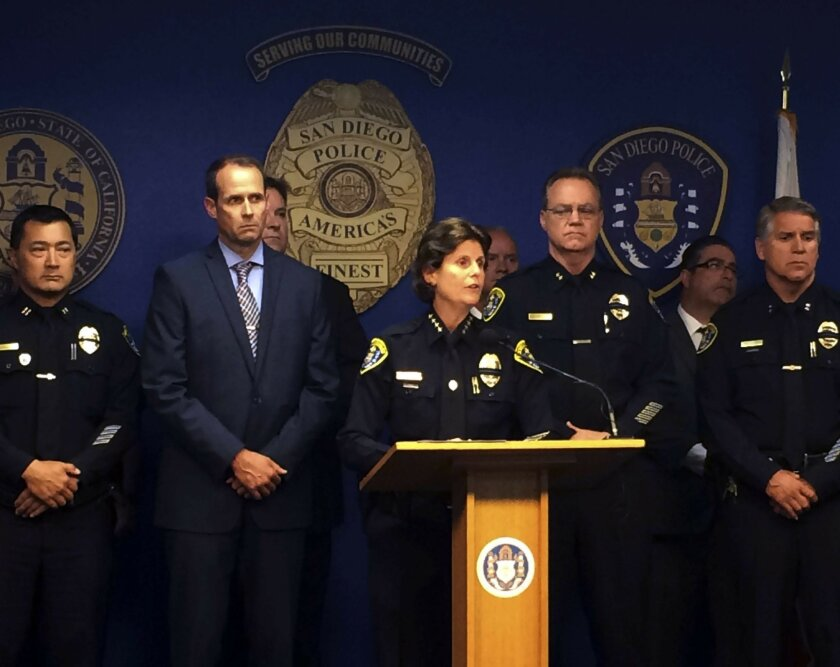 """San Diego Police Chief Shelley Zimmerman talks during a news conference in San Diego on Friday, July 29, 2016. Zimmerman has released the names of an officer who was killed in a shooting and a partner who was wounded late Thursday. Zimmerman says the department is seeking """"to find answers to the se"""