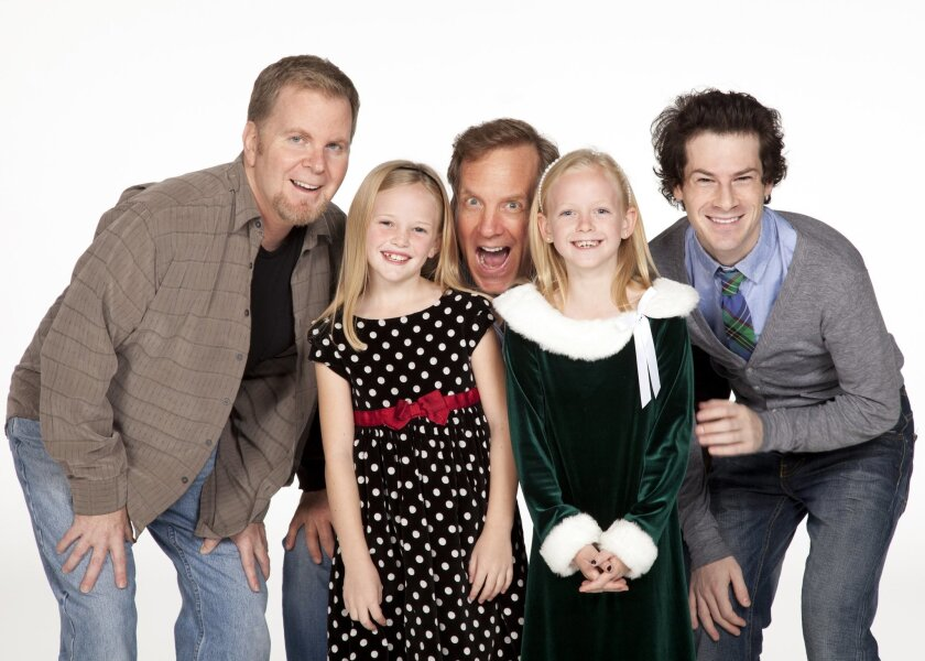 "Left to right: Steve Gunderson is Old Max, Remy Margaret Corbin is Cindy-Lou Who, Steve Blanchard is the Grinch, Caitlin McAuliffe also plays Cindy-Lou Who (the two girls alternate in the part) and Logan Lipton is Young Max in ""Dr. Seuss' How the Grinch Stole Christmas!"" at the Old Globe."