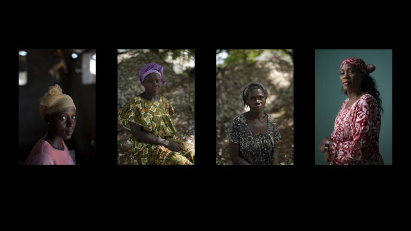 This four pictures combo shows, from left, Lama Mballow, Anta Sambou, Lucy Jarju and Fatou Janha Mboob, photographed in Serrekunda and Bansang, Gambia. (AP Photo/Leo Correa)