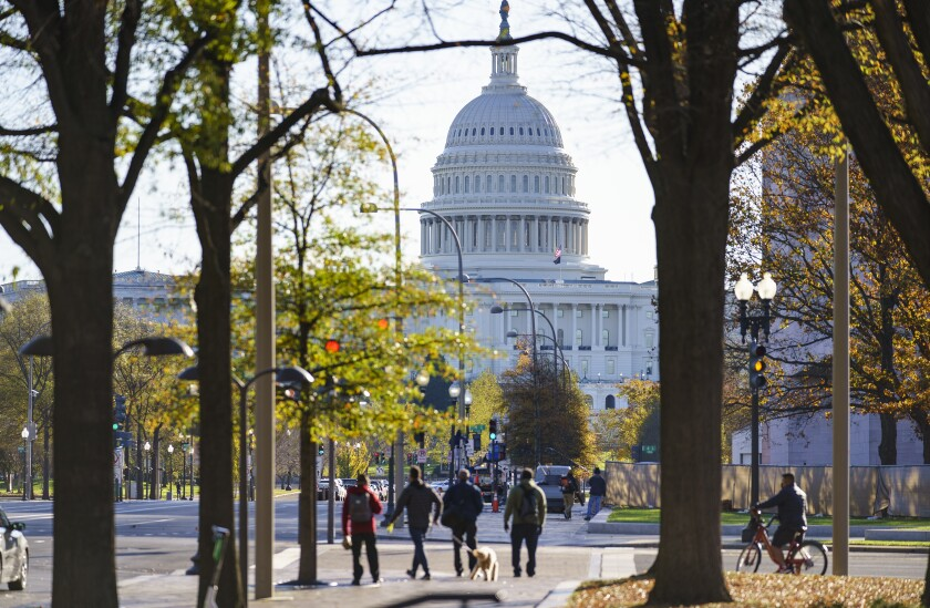The Capitol is seen in Washington, Monday, Nov. 16, 2020, as the House and Senate return to work. (AP Photo/J. Scott Applewhite)