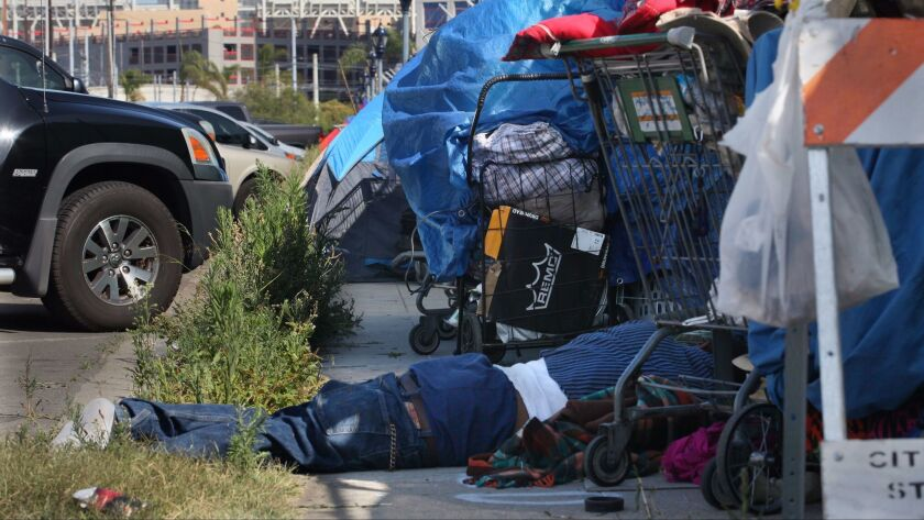 A homeless man sleeps between carts on Newton Avenue near Petco Park in Barrio Logan in 2015.