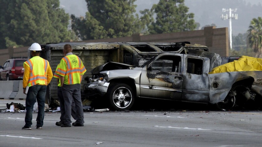 A fiery crash on the southbound 405 Freeway in North Hills on Friday morning left one person dead, another person hospitalized with unknown injuries and a third was evaluated and released.