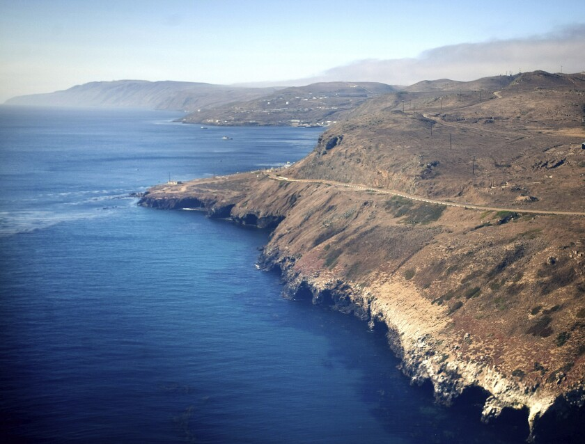 An aerial view of the coast of San Clemente Island, in San Diego.