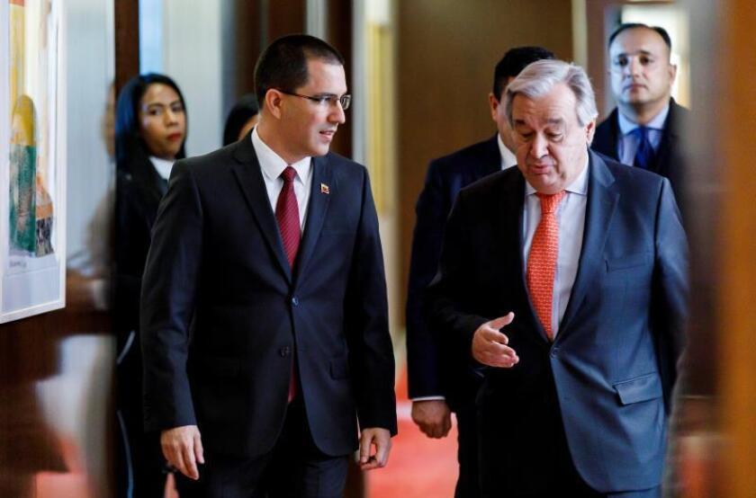 Venezuelan Foreign Minister Jorge Arreaza (L) talks with United Nations Secretary-General Antonio Guterres at UN headquarters in New York on Friday, Feb. 22. EFE/EPA/JUSTIN LANE