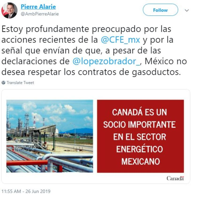 Canadian ambassador to Mexico tweet