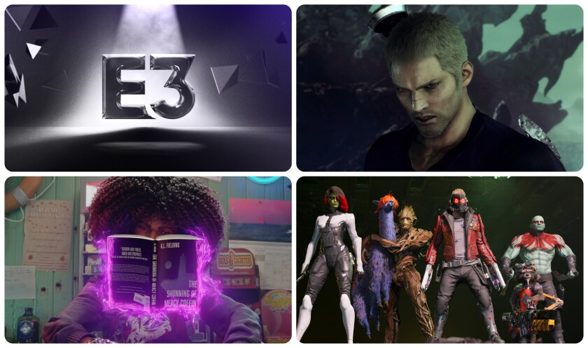 """E3 logo, """"Stranger of Paradise,"""" top right, Marvel's """"Guardians of the Galaxy"""" and Xbox/Bethesda's """"Redfall."""""""