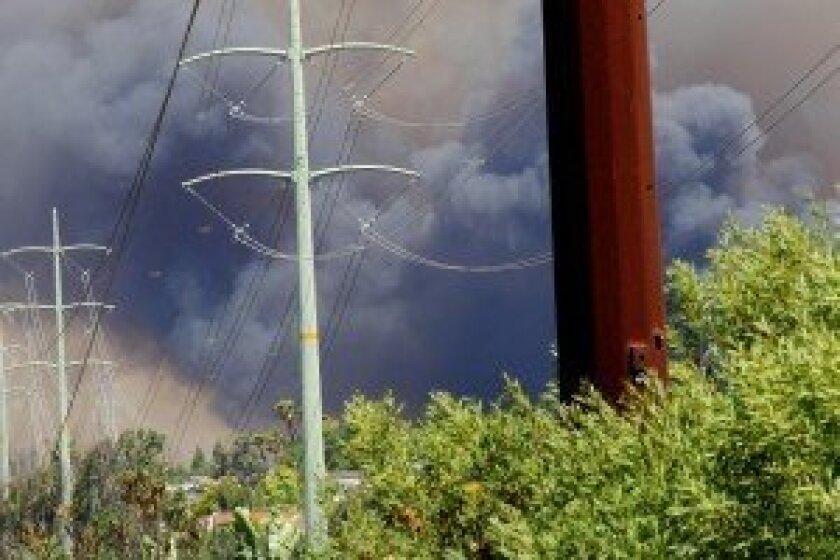 The Poinsettia Fire moving through Carlsbad. Photo by Jon Clark