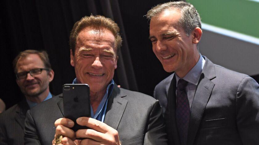 LOS ANGELES-CA-JUNE 28, 2017: Mayor Eric Garcetti, left, and Former Governor Arnold Schwarzenegger c