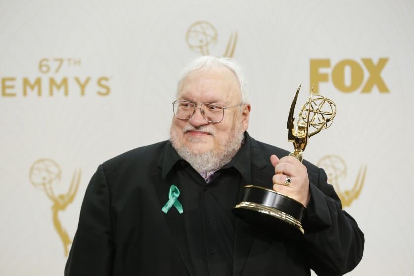 """George R. R. Martin, author of the book series on which """"Game of Thrones"""" is based, has not finished the latest installment of the series. He is shown here after winning Outstanding Drama Series for the show at the 67th Annual Primetime Emmy Awards."""
