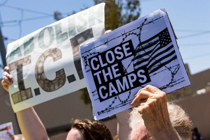 A protest at the Otay Mesa Detention Center in San Diego.
