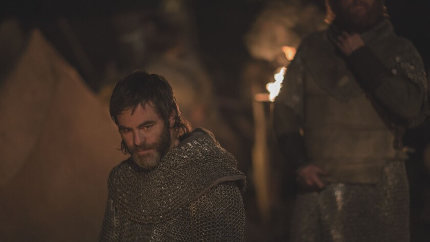 """Chris Pine as Scottish king Robert the Bruce in a scene from the movie """"Outlaw King."""""""