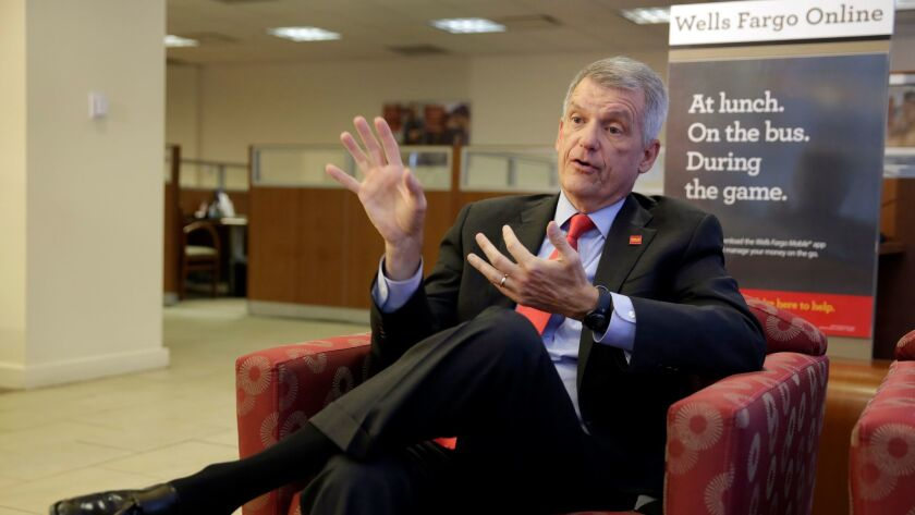 Wells Fargo CEO and President Tim Sloan is interviewed at one of the bank's New York branches last week.