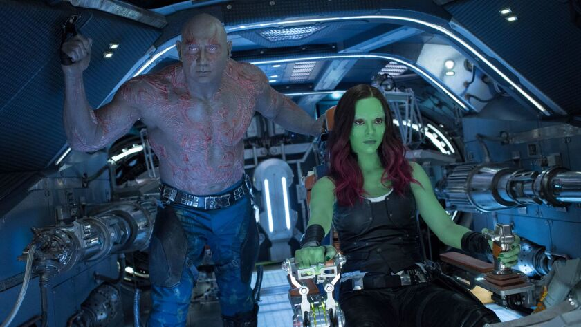 "Drax (Dave Bautista) and Gamora (Zoe Saldana) in a scene from ""Guardians of the Galaxy Vol. 2."""