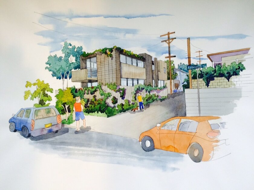 Artist's rendering of a 2,549-square-foot home and 458-square-foot attached garage to be built at 820 Rushville St. in La Jolla. On June 11, the San Diego Planning Commission rejected an appeal of the project.