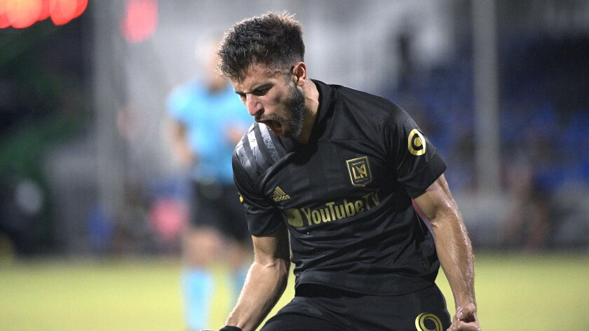 LAFC forward Diego Rossi reacts after scoring a goal.