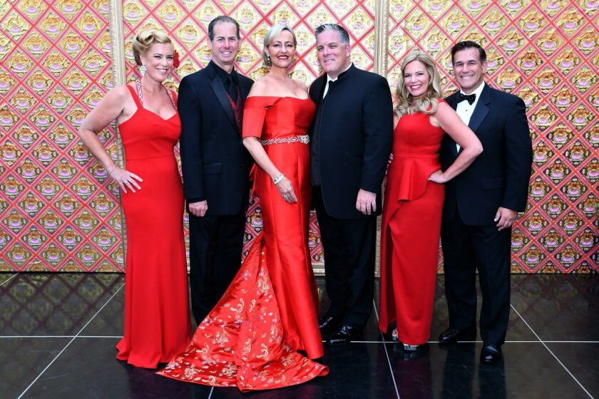 2016 Jewel Ball chair and co-chairs Kelley and Chris Albence, Kathryn and Beau Gayner, Maureen and Dean Weber