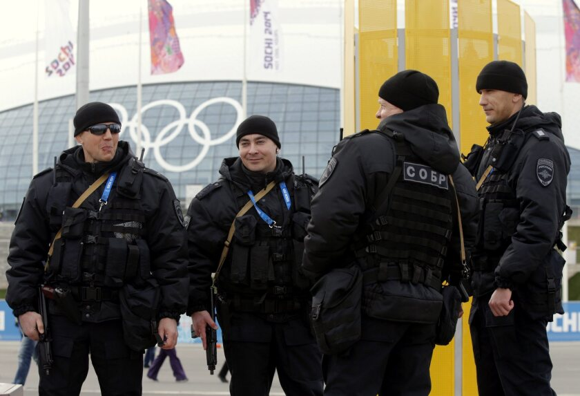 Russian special forces officers Sunday in the Olympic Park in Sochi, Russia.