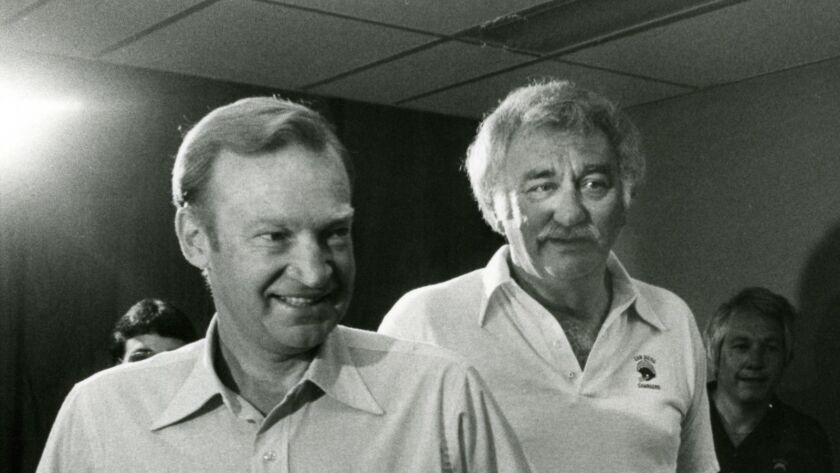 San Diego Chargers Don Coryell and the Chargers president Gene Klein at a 1978 press confrence. Union-Tribune file photo.