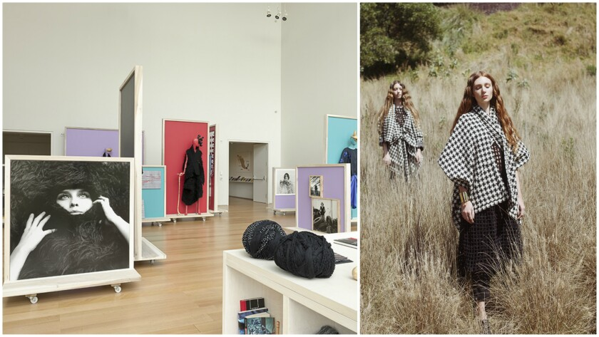 "Carla Fernandez's exhibition and pop-up shop ""The Future is Handmade,"" first staged at the Isabella Stewart Gardner Museum in Boston, left, is set for a run in downtown Los Angeles Sept. 12-28. Black-and-white houndstooth wool ponchos, right, are among the designer's fall 2015 pieces available for purchase."
