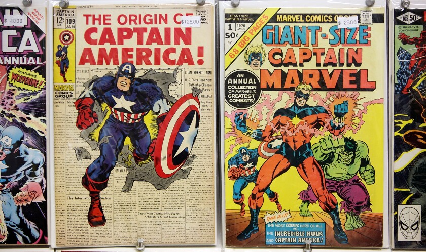 Vintage Marvel comics are seen for sale at St. Mark's Comics in New York City in 2009.