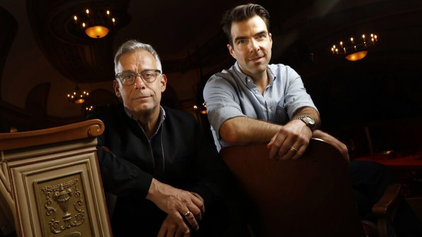 "Director Joe Mantello, left, and actor Zachary Quinto, photographed at the Booth Theater on Broadway, hadn't worked together before ""The Boys in the Band,"" but their stage careers have a few things in common."