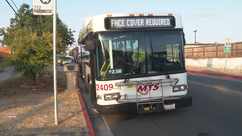 The driver of a MTS bus lost control and ran into several parked cars in Chula Vista early Tuesday,