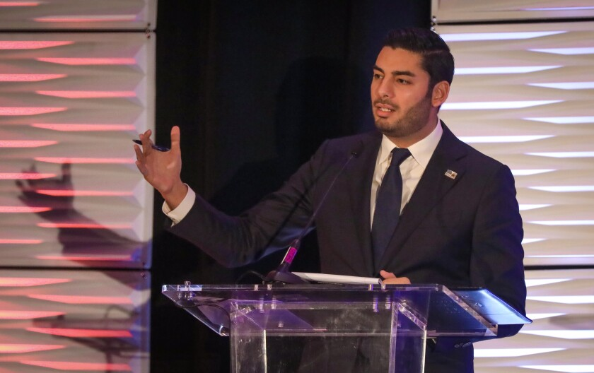 Ammar Campa-Najjar, businessman and educator, and Democratic candidate for U.S. House of Representatives in the 50th Congressional District, during the 50th District Congressional Debate in Mission Valley, February 14, 2020 at the DoubleTree by Hilton Hotel San Diego.