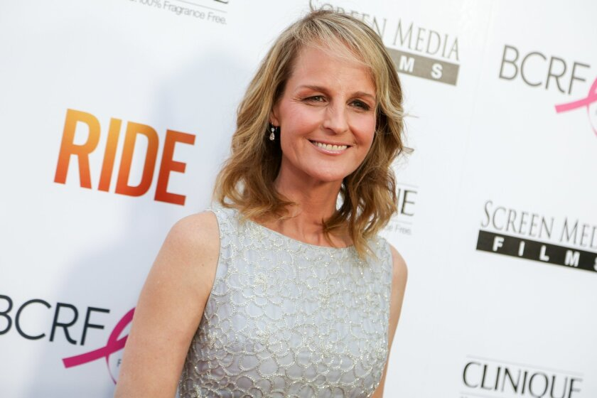 """FILE - In this Tuesday, April 28, 2015 file photo, Helen Hunt arrives at the LA Premiere of """"Ride"""" at The Arclight Hollywood Theater in Los Angeles. In a Twitter post on May 23, 2016, Hunt wrote that she was mistaken for fellow actress Jodie Foster at a Starbucks. (Photo by Rich Fury/Invision/AP, File)"""