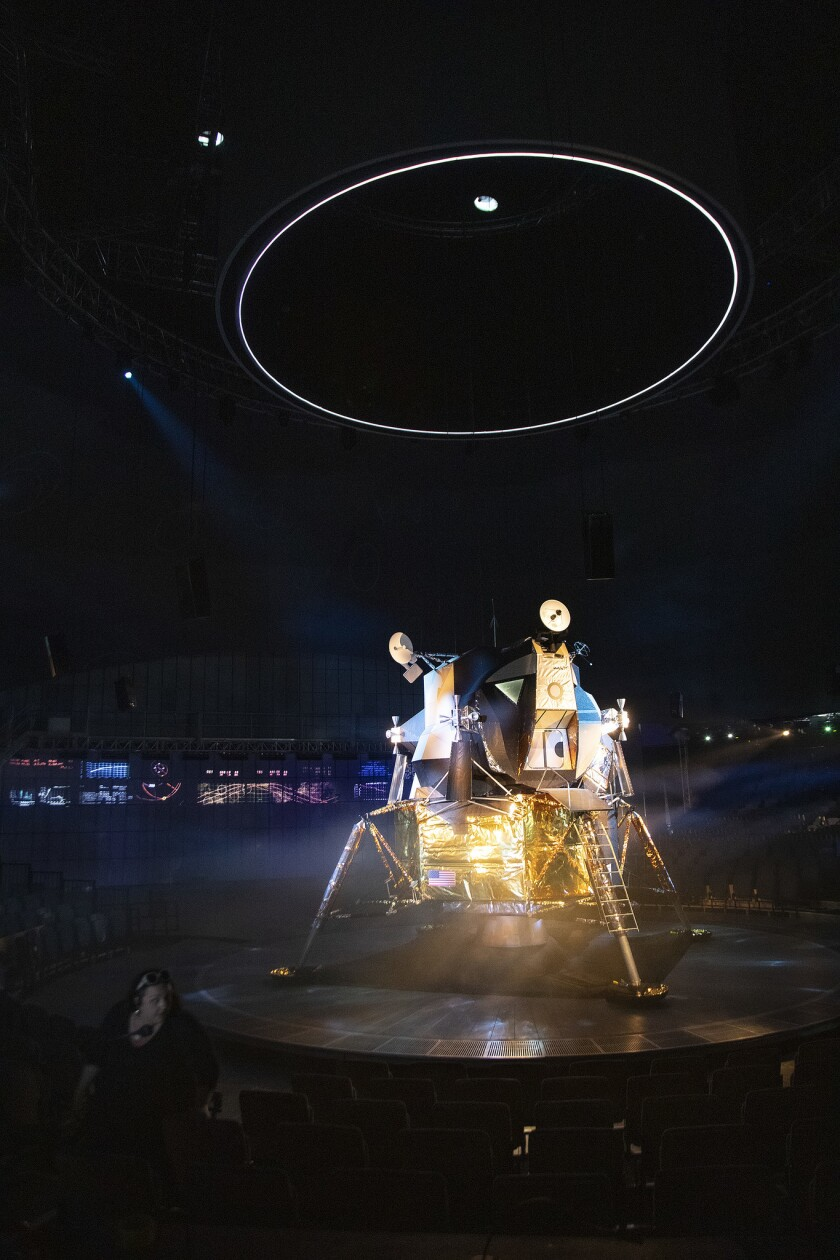PASADENA, CA - JULY 3, 2019: A replica of the Apollo 11 lunar module sits on stage during rehearsal