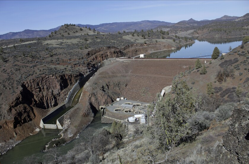 An aerial view of the Iron Gate Dam, powerhouse and spillway on the lower Klamath river