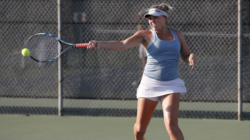 Corona del Mar High No. 2 doubles player Shaya Northrup strikes the ball against University in the s