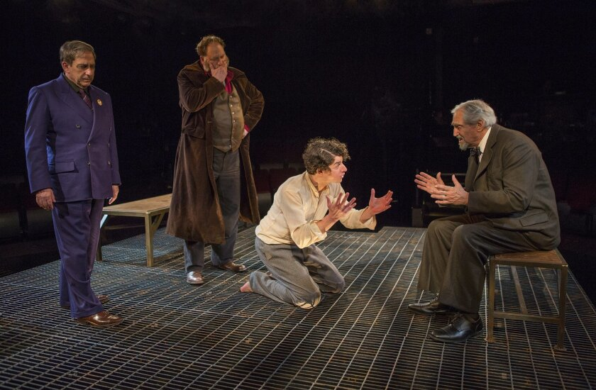 """Robert Dorfman, Ron Orbach, Eli Gelb and Hal Linden (left to right) in the Old Globe Theatre production of Nathan Englander's play """"The Twenty-seventh Man."""""""
