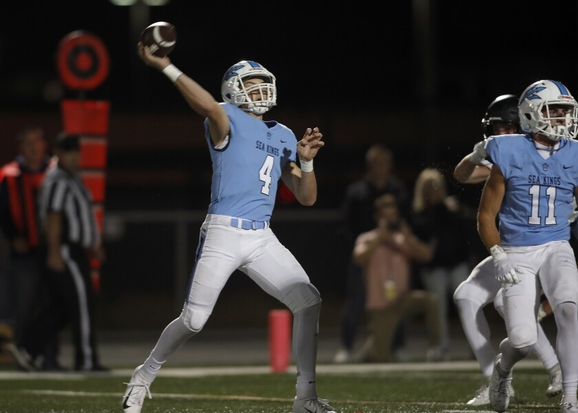 Corona del Mar High quarterback Ethan Garbers (4) threw for seven touchdowns in the team's 48-21 win over Bishop Alemany in the Division 3 semifinal.