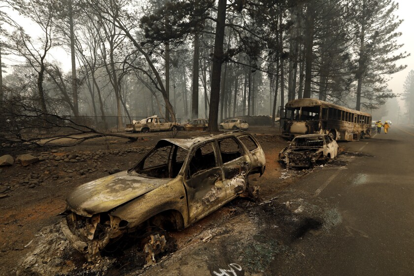 Many of the 85 killed in last year's Camp fire died in their cars trying to flee Paradise, Calif., which has few routes leading out.