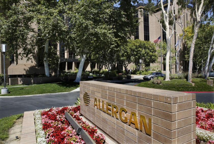 Allergan headquarters in Irvine. The company confirmed it is in merger talks with Pfizer.