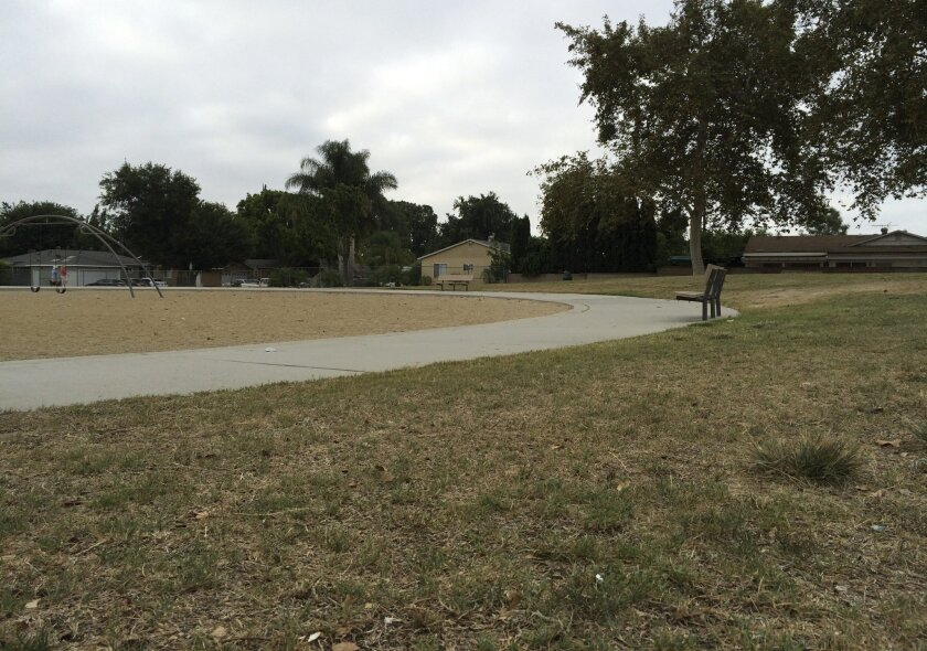 Patches of yellowing grass line the area at West Haven Park in Garden Grove, Calif. on Tuesday, Aug. 2, 2016. Californians conserved less water in June, the first month that statewide drought restrictions were eased following a winter of near average rain and snowfall, state officials said Thursday, July 28. (AP Photo/Amy Taxin)