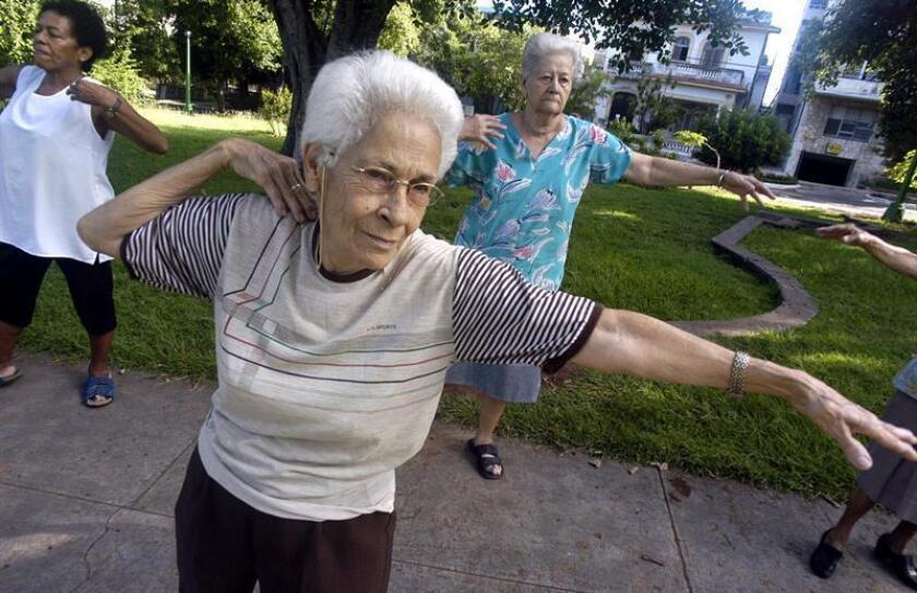 Un grupo de ancianas hace ejercicios en un parque. EFE/Archivo