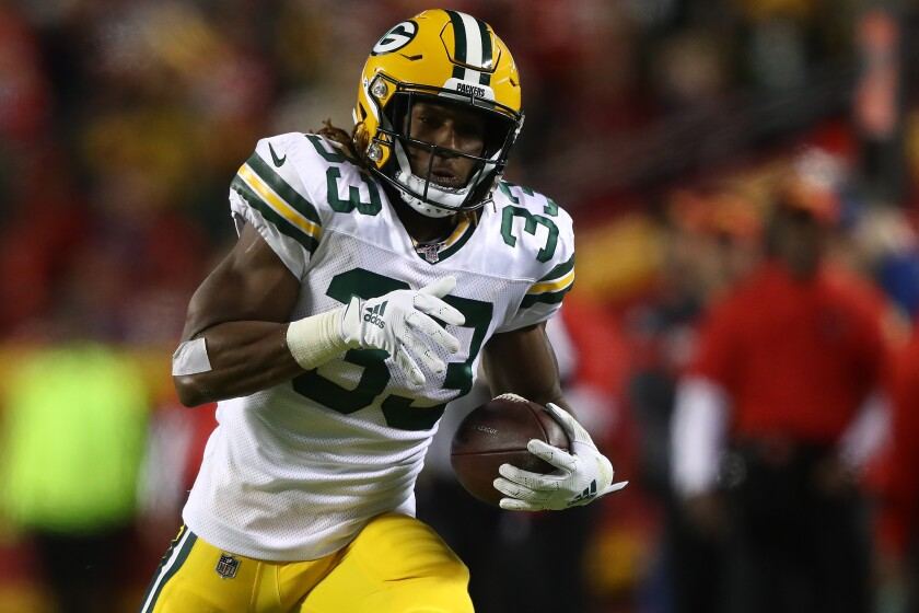 Green Bay running back Aaron Jones makes a catch against Kansas City on Oct. 27, 2019.