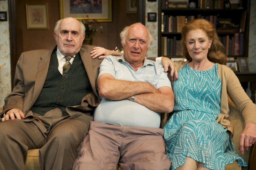 """Playwright Lionel Goldstein (center) with """"Mandate Memories"""" actors Apollo Dukakis and Rosina Reynolds at North Coast Repertory Theatre."""