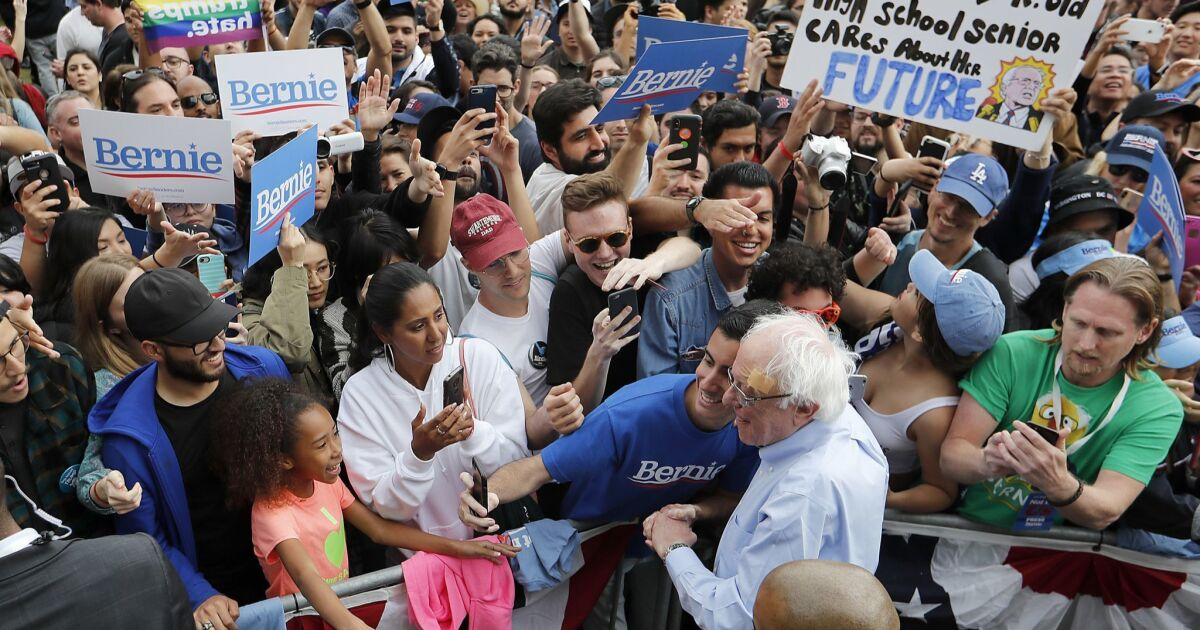 Bernie Sanders heads to East L.A. for a rally as part of his outreach to young Latinos