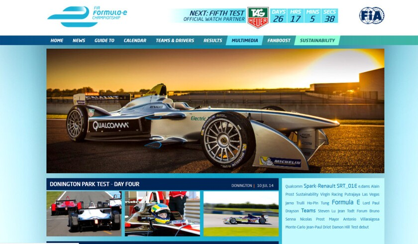 A look at the Formula E website, featuring a close-up photo of a race car.