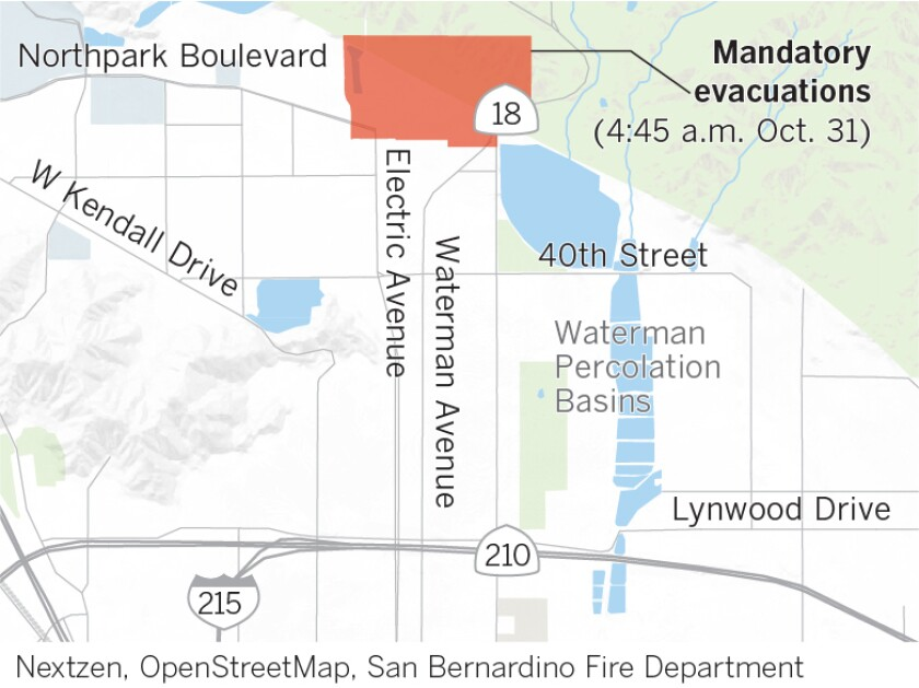 The Hillside fire was burning along Highway 18 at Lower Waterman Canyon, consuming at least 200 acres. San Bernardino fire officials ordered evacuations north of 50th Street, West of Highway 18 and east of Mayfield Street. An evacuation center has been established at 1020 Pacific Street in San Bernardino.