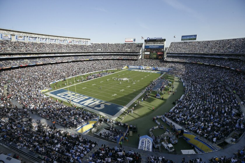 FILE - This is a Nov. 16, 2014, file photo showing a general view of the San Diego Chargers playing against the Oakland Raiders during the first half of an NFL football game at Qualcomm Stadium in San Diego. Members of Mayor Kevin Faulconer's advisory group are holding the line against Chargers poi