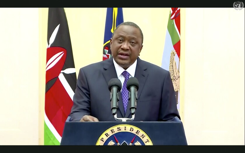"""In this photo made from UNTV video, Uhuru Kenyatta, president of Kenya, speaks in a pre-recorded message which was played during the 75th session of the United Nations General Assembly, Wednesday, Sept. 23, 2020, at UN Headquarters. This year's annual gathering of world leaders at U.N. headquarters will be almost entirely """"virtual."""" Leaders have been asked to pre-record their speeches, which will be shown in the General Assembly chamber, where each of the 193 U.N. member nations are allowed to have one diplomat present. (UNTV Via AP )"""