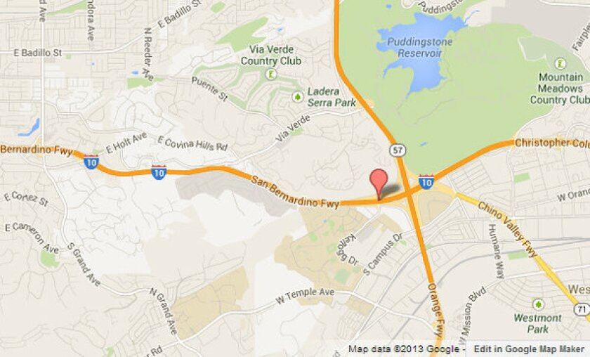 Approximate location where a motorcycle and a big rig collided in San Dimas.